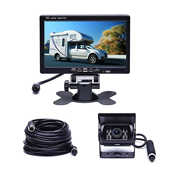 Car Backup Camera System Hikity Waterproof 18 IR LED Night Vision Reverse Camera 65ft 4-Pin Aviation Video Cable 7 TFT Rear View Monitor Vehicle Parking System for RV//Bus//Trailer//Truck