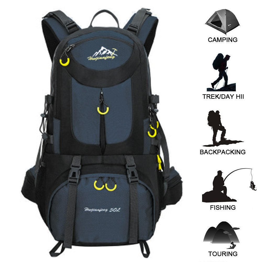 50L Hiking Backpack Waterproof Backpacking Outdoor Sport Daypack for Climbing Mountaineering Camping Fishing Travel Cycling Skiing(Dark blue) Butterfly Studio NO.1