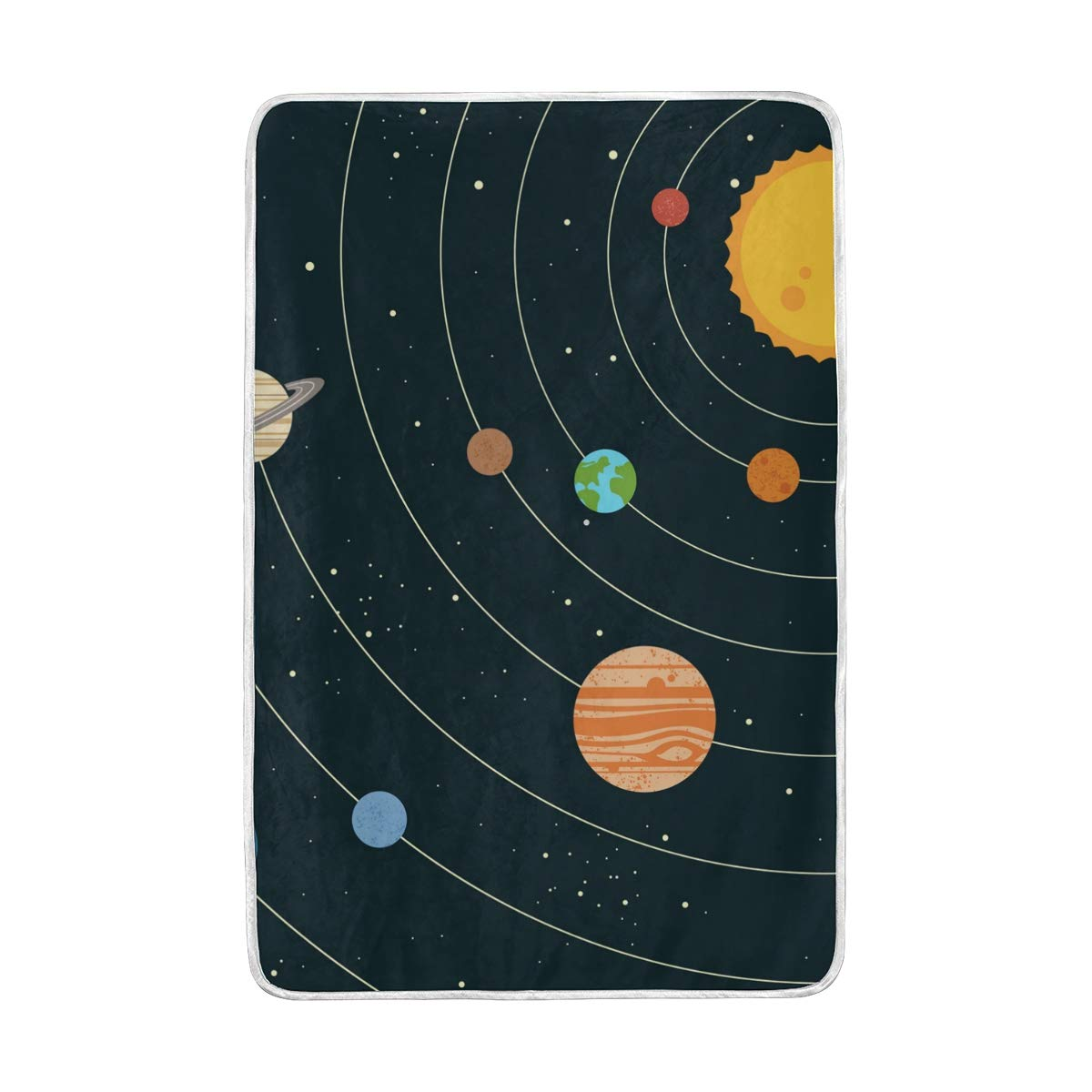 MAPOLO Solar System Illustration Soft Warm Throw Blanket Travel Camping Blankets Lightweight for Couch Sofa Bed, 90 x 60 Inches