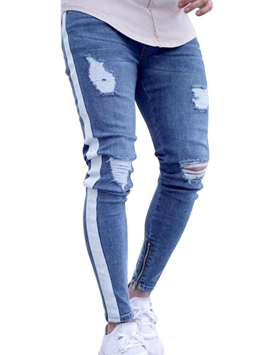 c02fd3dd087 Style: Destroyed detail, Zippers at ankles, Side Stripe Twill Consists of  cotton fabric which is lightweight, comfortable, and breathable material.