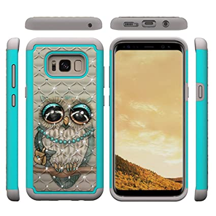 Galaxy S8 Plus Case,Shockproof Slim 2 in 1 Hybrid Case Hard PC Back Cover with Point Drill & Creative Pattern Inner Soft TPU Bumper Anti-Scratch Case ...