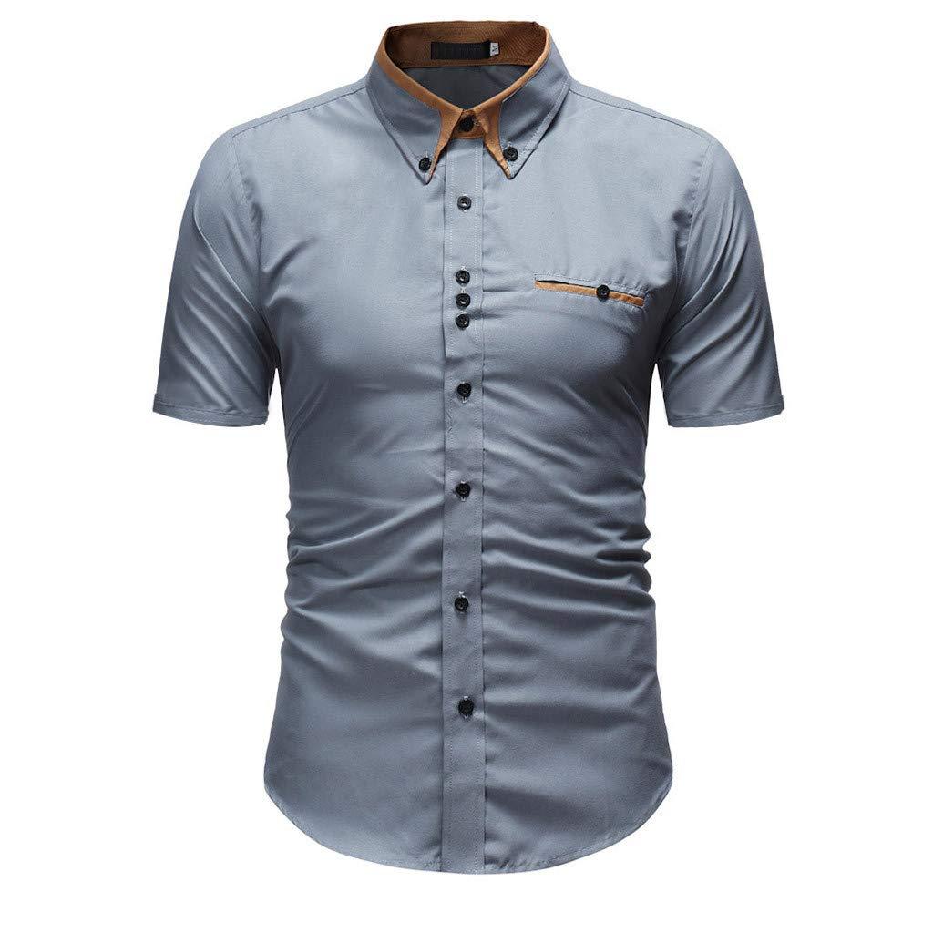 iHENGH Chemise,Tops Homme Hommes Shirt Mode Solide Couleur Casual Male Shirt /à Manches Courtes,La Mode,Confortable