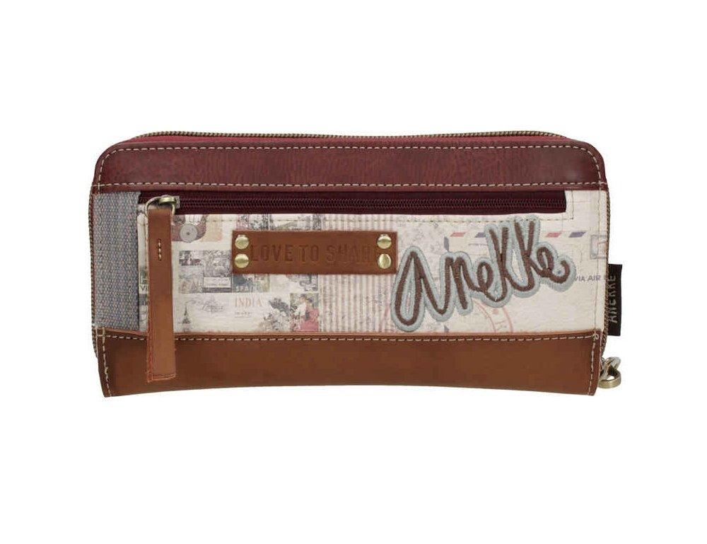 Sany Bags S.L. Anekke Zipper Wallet Cartera para Pasaporte, 21 cm, Beige: Amazon.es: Equipaje