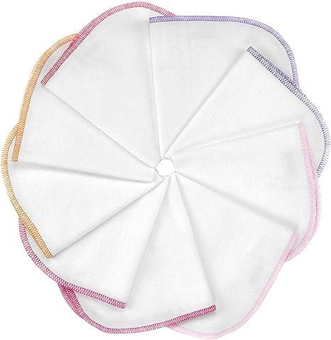 Makian Paño franela bebé 30x30 cm con cinta - 9 Ud/Muselinas blancas con ribete rosa y lila - Toallitas suaves 100% algodón, sin sustancias nocivas, certificado OEKO-TEX: Amazon.es: Bebé