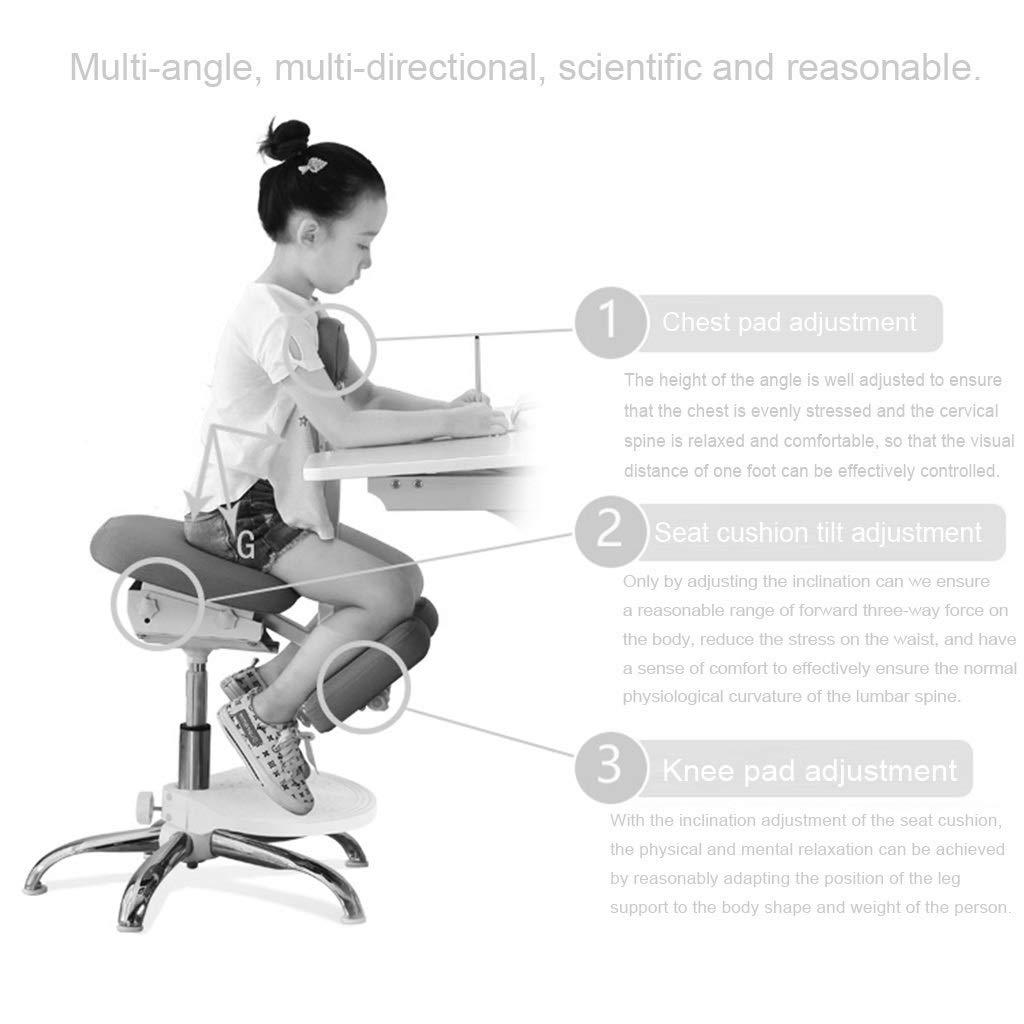 Knästolar ergonomisk barns lärande stol student skriva hållningskorrigeringsstol hem lyftstol, lämplig för höjd 1,1 ~ 1,4 m (färg: Blå) Rosa
