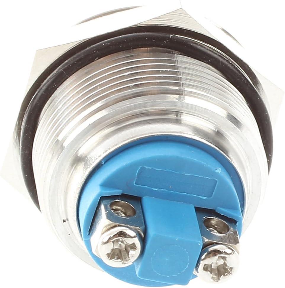 Gaoominy Interruptor de boton pulsador momentaneo de acero inoxidable 22mm Montaje empotrado SPST ENCENDIDO//APAGADO