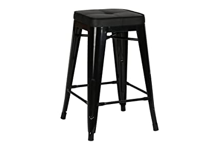 Wondrous Novogratz Sedona Counter Stool With Metal Legs And Faux Leather Seat Set Of 2 Black Gmtry Best Dining Table And Chair Ideas Images Gmtryco