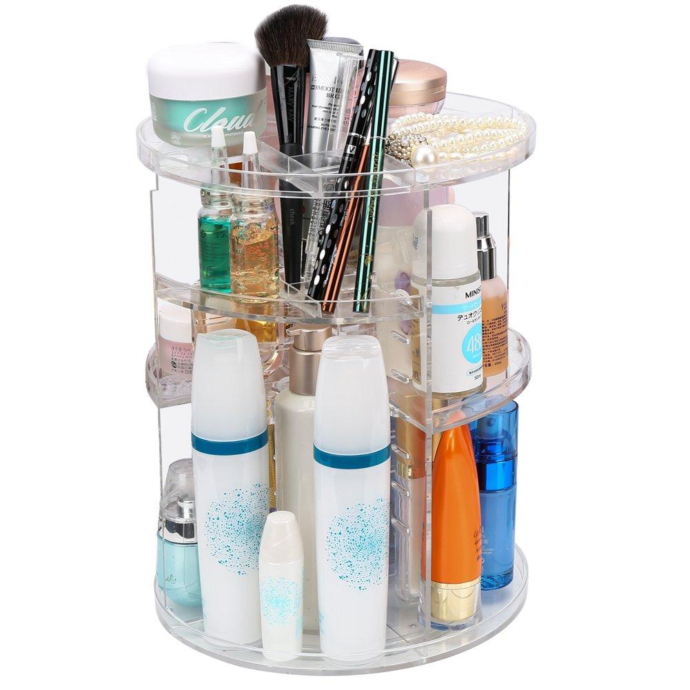 Organizador de Maquillaje Cosméticos, ISWEES Caja Acrílica Para Cosméticos, 360 Grados de Rotación Gran Capacidad, Acrílico Transparente (360 Grados de Rotación) YX1003