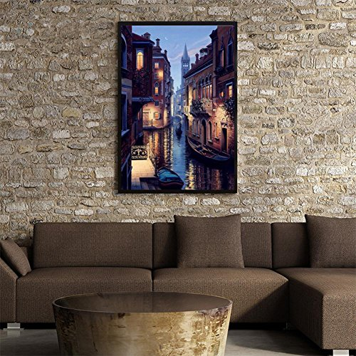 ery Venice Town Round DIY Diamond Painting Cross Stitch 40x30cm (Venice Embroidery)
