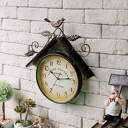 NabothT Reloj de Pared Vintage país pájaro de Hierro Casa Creativa Reloj Relojes Reloj de Pared