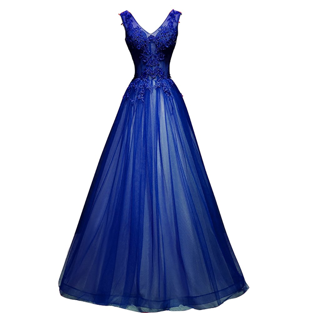 Kivary Plus Size Long V Neck Sheer Top Beaded Lace Prom Evening Dresses  Silver Royal Blue US 20W