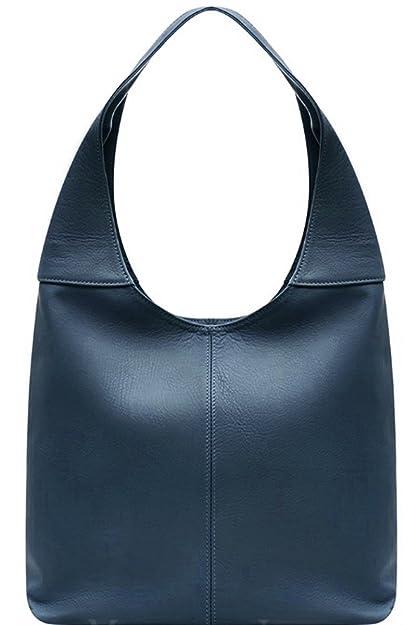 d28bf9432e Handbag Bliss Italian Leather Medium Large Soft Slouch Shoulder Bag (Navy  Blue)