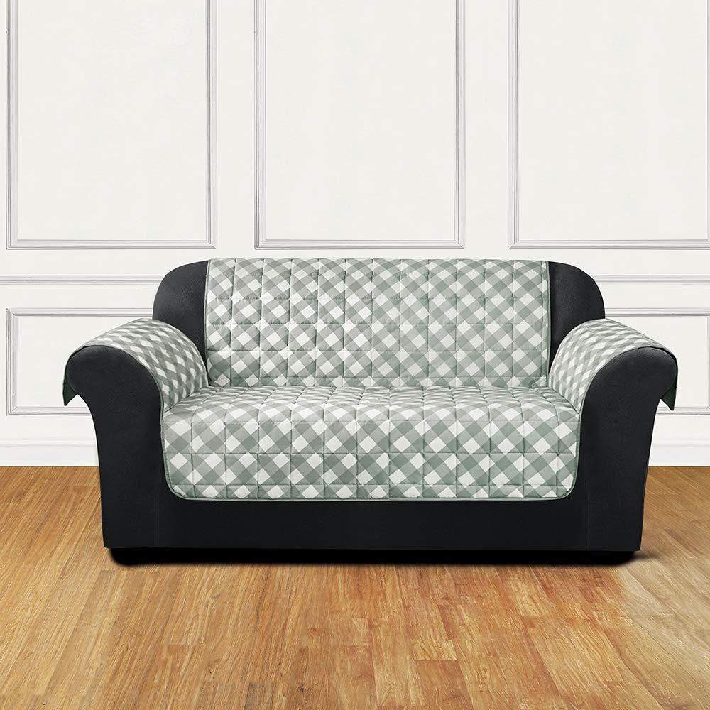 Swell Surefit Furniture Flair Loveseat Slipcover Gingham Plaid Theyellowbook Wood Chair Design Ideas Theyellowbookinfo