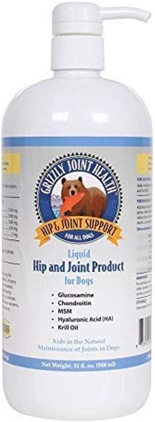Grizzly Joint Health Liquid Hip and Joint Support for Dogs | Glucosamine, Chondroitin, Wild Antartic Krill Oil (32 fl oz)