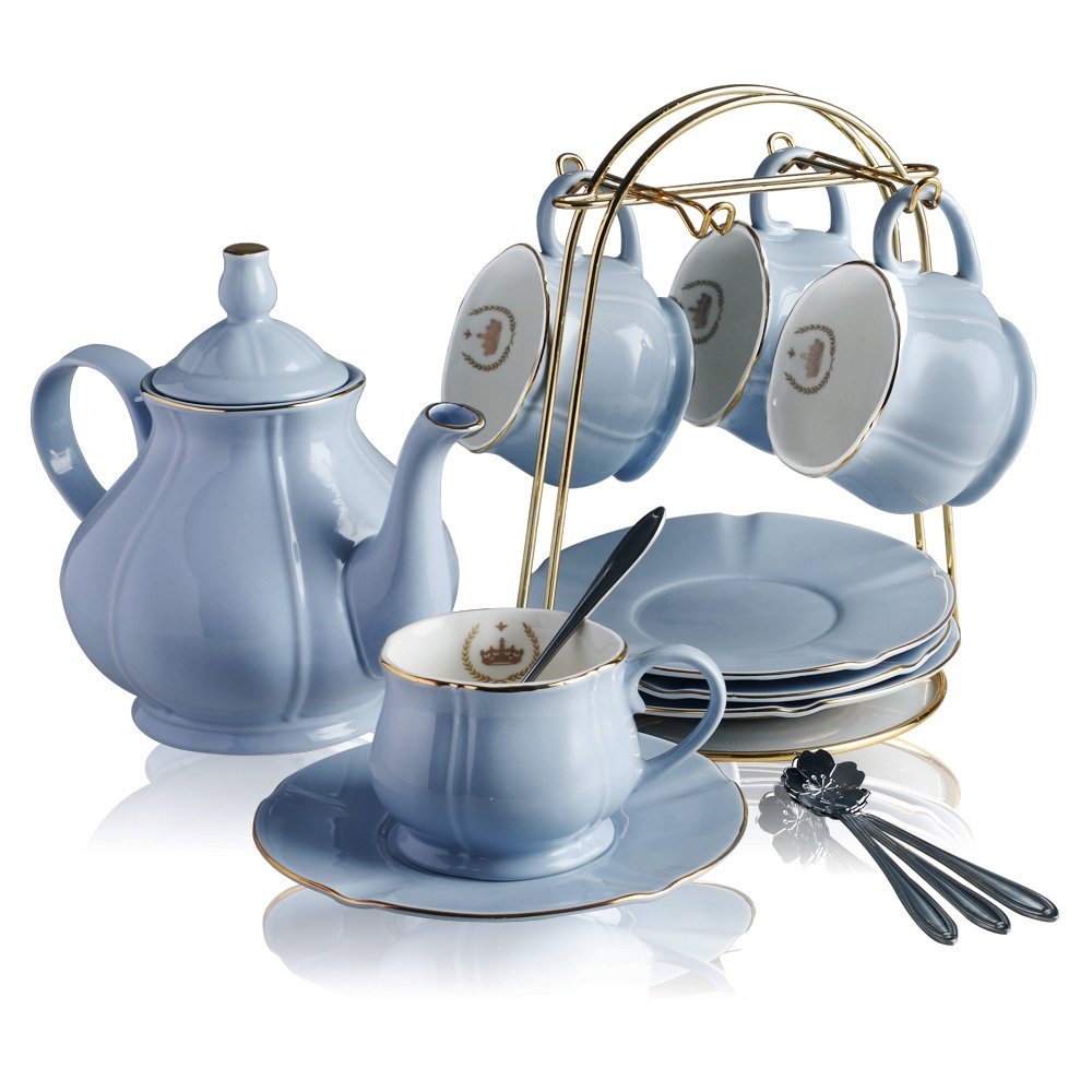 Classical Porcelain Tea Sets - 8 OZ Blue Cups& Saucer Service for 4,with Teapot Teaspoons and tea strainer for Tea/Coffee By BANFANG