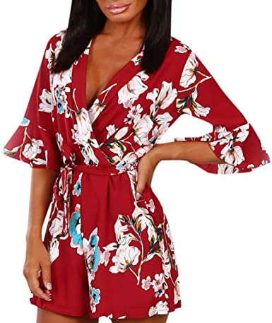 NEW GIRLS SUMMER HOLIDAY SHORT ALL IN ONE FLORAL FLOWER PRINT JUMPSUIT PLAYSUIT