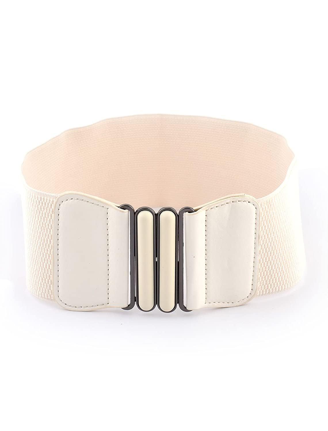 uxcell Women Travel Shopping Retro Style Elastic Waist Belt Strap White Black