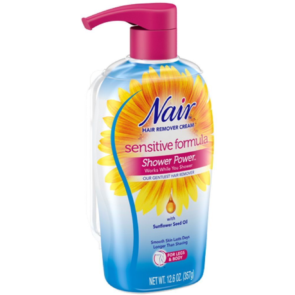 Nair Hair Remover Shower Power Sensitive 12.6 Ounce Pump (372ml) (2 Pack) by Nair