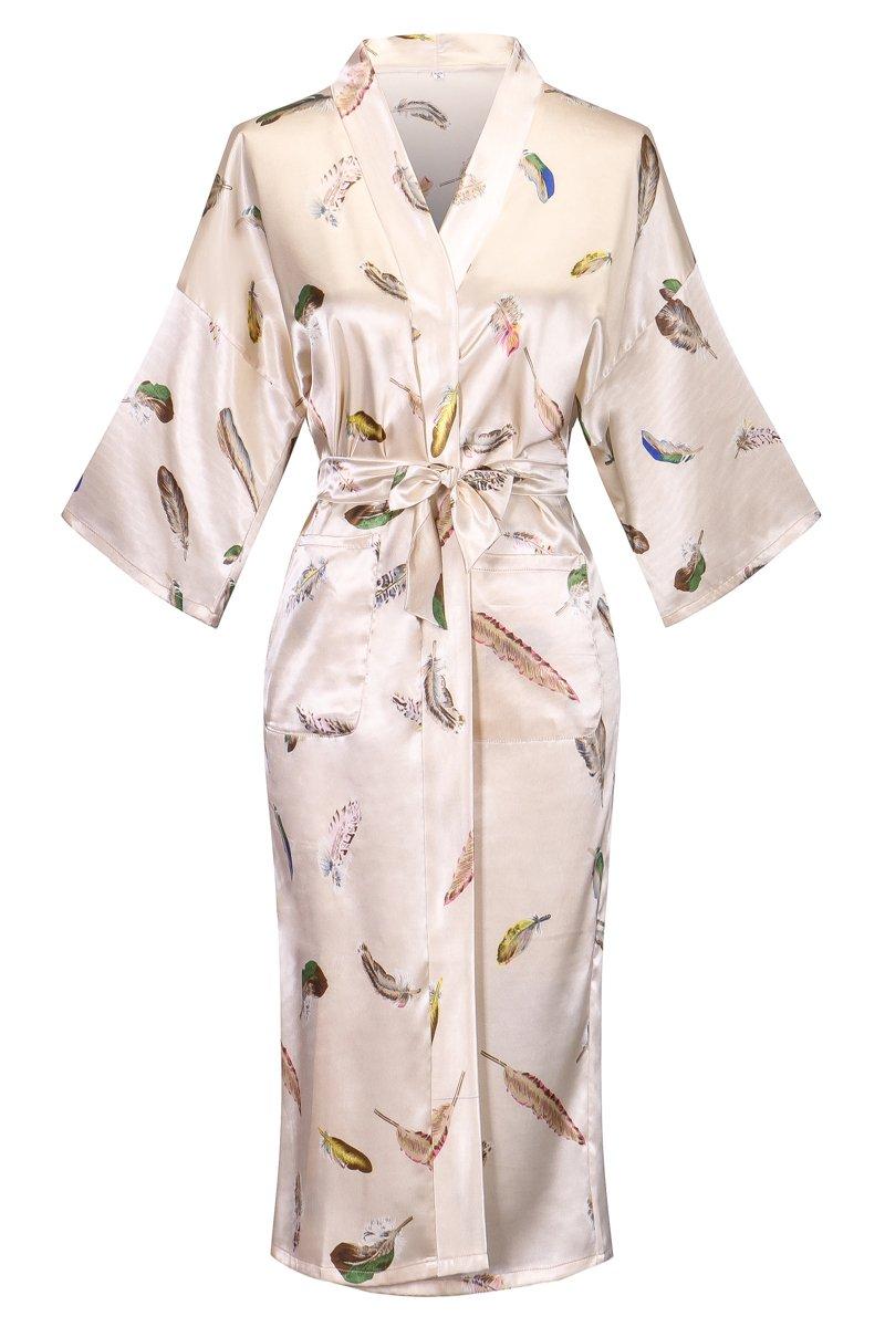 DandyChic Women's Kimono Robes Feather Print Kimono Imitation Silk Long Style