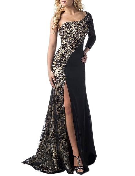 164209004ea Amazon.com  One Shoulder Side Slit Lace Maxi Dress Evening Dress  Clothing