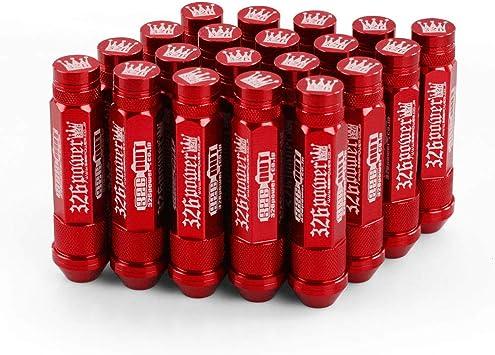 Aluminum 20Pcs Set Power 90mm Wheel Lug Nuts With Crown Caps For Honda M12 X1.5
