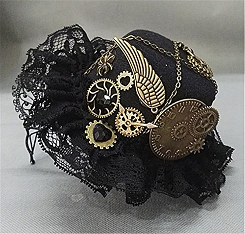 Steampunk Victorian Gears Mini Top Hat Costume Hair Accessory With Steam Punk Gear Glasses - Glasses Hats And