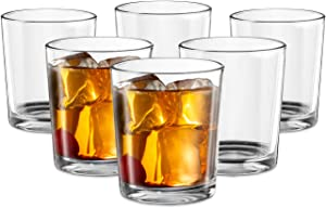 Whiskey, Glasses, by Kook, Durable Glassware, Perfect for Bar or Home Use, Great for Bourbon, Scotch, Cocktails, Set of 6, 14 Oz