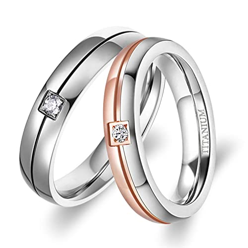 Amazon Com Tigrade Titanium Rings Couple Engagement Wedding Bands