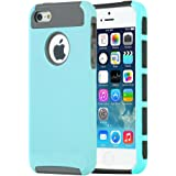 iPhone SE / 5S / 5 case, MTRONX™ Shockproof Hybrid Hard Soft TPU Case Bumper for Apple iPhone SE, iPhone 5S, iPhone 5 - Sky Blue/Grey(HC-SBGY)