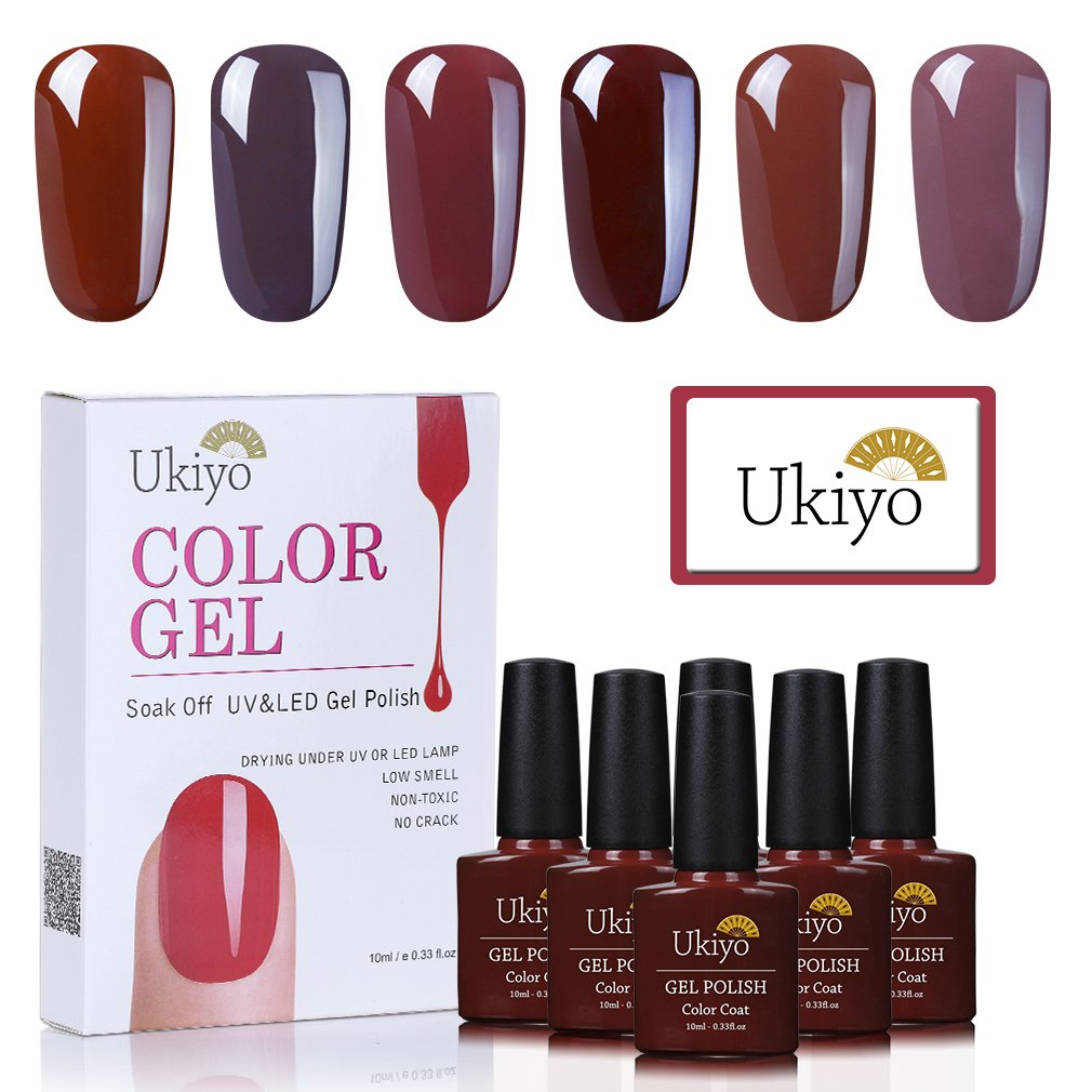 Ukiyo 6PCS Marrone Soak Off kit smalto semipermanente 10ml UV LED Smalto semipermanente unghie in Gel gel polish Nail Art set