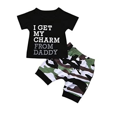 19db625f543e2 Clothes Set,Ba Zha ⚽ Toddler Kids Baby Boy Letter T Shirt Tops+Camouflage