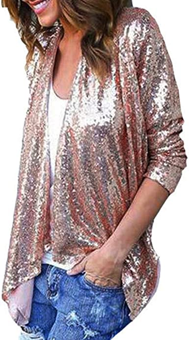 DEELIN Blusa De Camisa De Rebeca Irregular De Lentejuelas De Color SóLido De Manga Larga para Mujer: Amazon.es: Ropa y accesorios