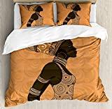 African Woman Twin Duvet Cover Sets 4 Piece Bedding Set Bedspread with 2 Pillow Sham, Flat Sheet for Adult/Kids/Teens, Indigenous People of Africa Theme Local Woman in Traditional Turban and Dress