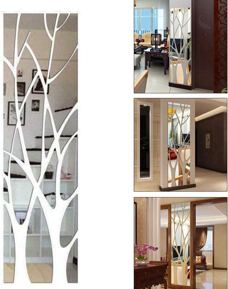 Teyu - Adhesivo decorativo 3D para pared, acrílico, diseño de ramas de árbol, adhesivo de espejo extraíble para decoración de dormitorio, salón, cuarto de baño