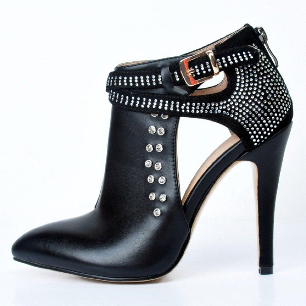 Kolnoo Femmes Handmade 10cm Peep Toe style romain sangle de la cheville Pompes à talon haut Chaussures Black EU42 4fgvvfj1