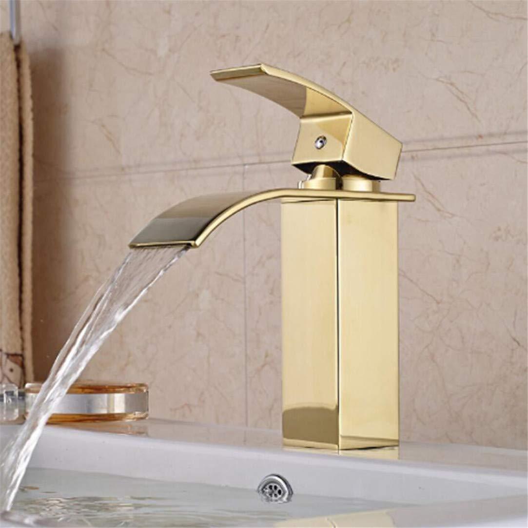Wasserhahn Waschtischmischer VerGoldeter Badmischbatterie Einhand-Einloch-Wasserfall-Waschtischarmatur