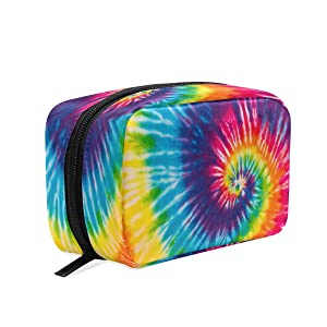 Rainbow Tie Dye Makeup Bag Cosmetic Bag Toiletry Travel Bag Case for Women, Blue Red Yellow Portable Organizer Storage Pouch Bags Box