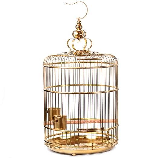 Jaula de pájaros de acero inoxidable dorado / Jaula redonda Loro ...