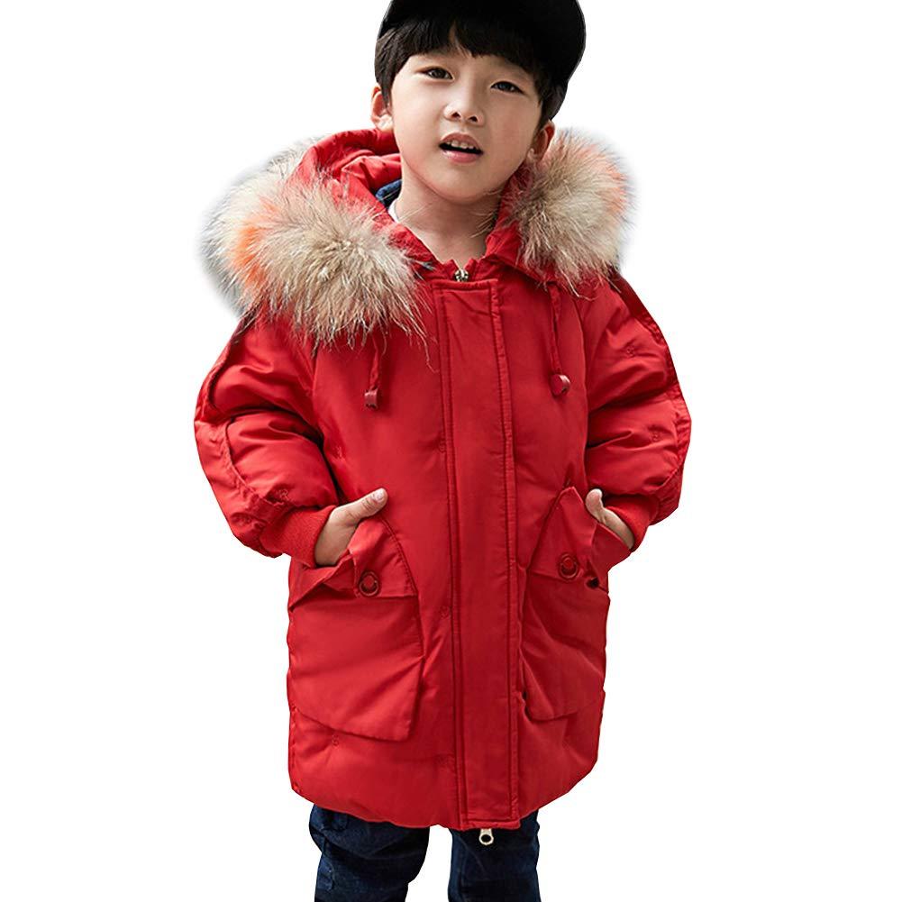 Rouge 7-8 ans SXSHUN Enfant Garçon Fille Manteau Doudoune Duvet Blouson à Capuche Fourrure Poches Parka Rembourré Veste d'hiver Epaisse Coupe Vent