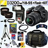 Nikon D3200 24.2 MP CMOS Digital SLR Camera (Black) with 18-55mm f/3.5-5.6 AF-S DX VR NIKKOR Zoom Lens + Automatic TTL Flash + Telephoto and Wide Angle Lenses + 32GB Deluxe Accessory Kit, Best Gadgets