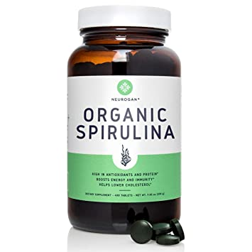 Neurogan Organic Spirulina Tablets - 500mg, 400 Count - Best Green Superfood Packed with Vegan...
