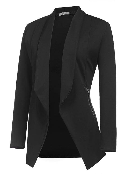 ELESOL Womens Long Blazer Work Office Stretchy Open Front Lapel Jacket Solid Knit Blazers S-XXL