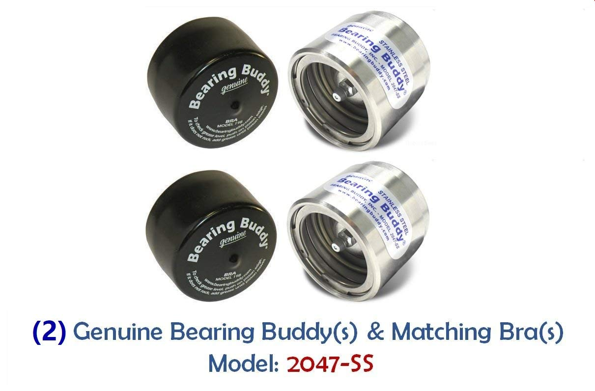 Bearing Buddy Stainless Steel (2.047'' Diameter) with Protective Bras Model 2047-SS (1 Pair) Wheel Bearing hub Protector by Bearing Buddy