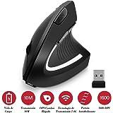 RabbitStorm Mouse Inalámbrico, Ratón Inalámbrico Ergonómico Recargable, Ratón Vertical Óptico USB 2.4G con 3 Niveles DPI 800/1200/1600 Ajustables, 6 Botones para Computadora, Computadora Portátil, PC, MacBook- Negro
