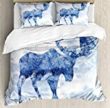 Moose Duvet Cover Set by Ambesonne, Blue Pattern Pine Needles Spruce Tree with Antlers Deer Family Snow Winter Horns, 3 Piece Bedding Set with Pillow Shams, Queen / Full, Blue White