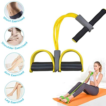 Upgrade 4 Tubes Multifunction Leg Exerciser Sit-up Bodybuilding Expander Premium 2019 Multi-Function Tension Rope Fitness Pedal Exerciser Rope Pull Bands