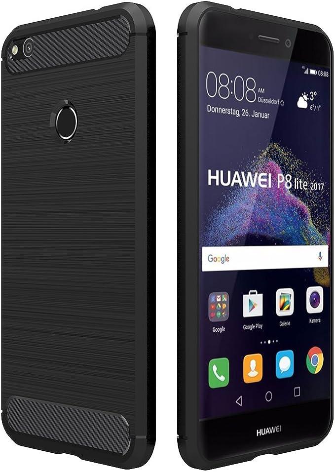 Simpeak Funda Compatible con Huawei P8 Lite 2017 (5,2 Pulgadas), Fundas Compatible con Huawei P8 Lite 2017(No Compatible con Huawei p8 Lite) Gel Silicona Premium TPU Case,Negro: Amazon.es: Electrónica