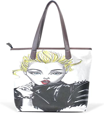 Ye Store Flower With Bird Lady PU Leather Handbag Tote Bag Shoulder Bag Shopping Bag