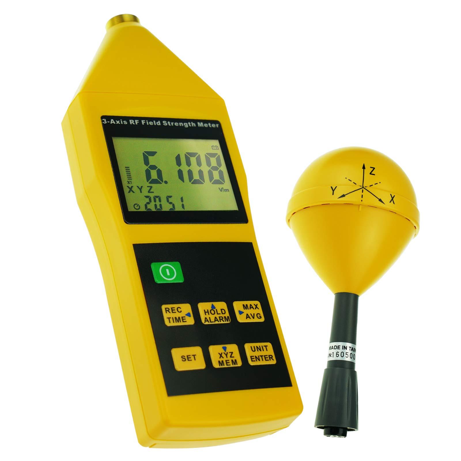 EMF/RF Triple Axis Sensor (X, Y, Z) Electrosmog Meter Tester Radio Frequency Electromagnetic Power Detector Tester 38mv ~ 11v/m Range 10MHz ~ 8GHz Frequency