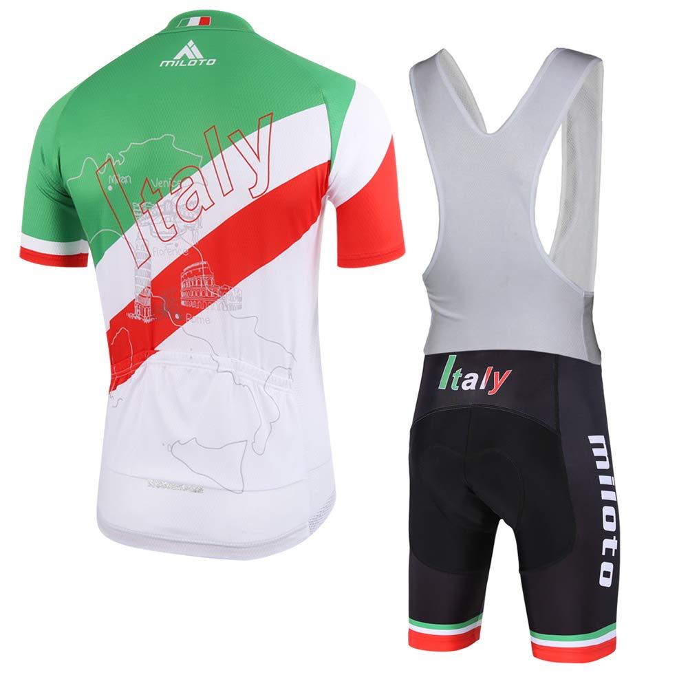 MILOTO Mens Cycling Jersey White Bib Shorts Set Short Sleeve Reflective